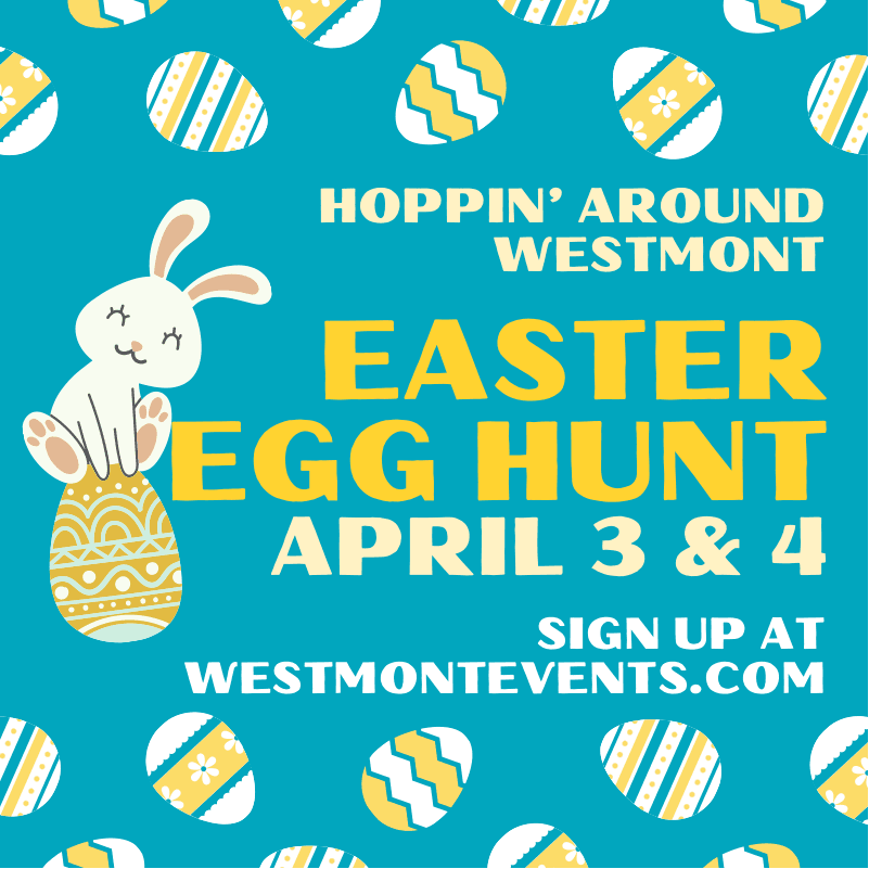 Hoppin Around Westmont Easter Egg Hunt Graphic